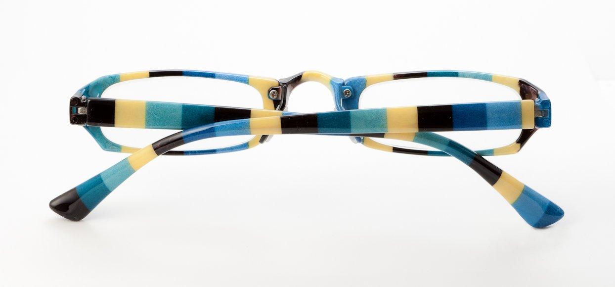 Loudspecs Moon Dog +1.5 Occhiali da vista fantasia a strisce blu bianco verde funky unisex fRIbB