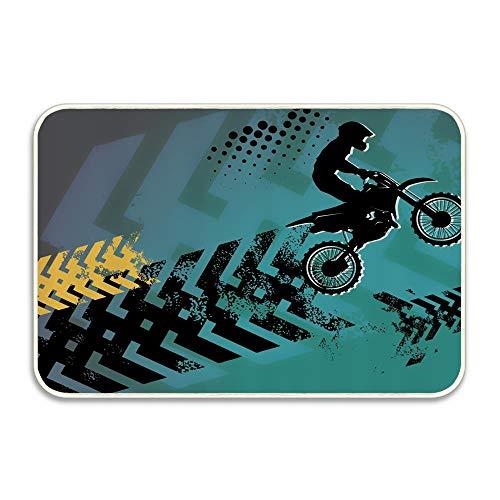 (Extreme Sports Theme Stunt Racer Silhouette with Grunge Arrows Funny Doormat Floor Mat Rug Indoor/Outdoor/Front Door/Bathroom mat Rubber Non Slip)