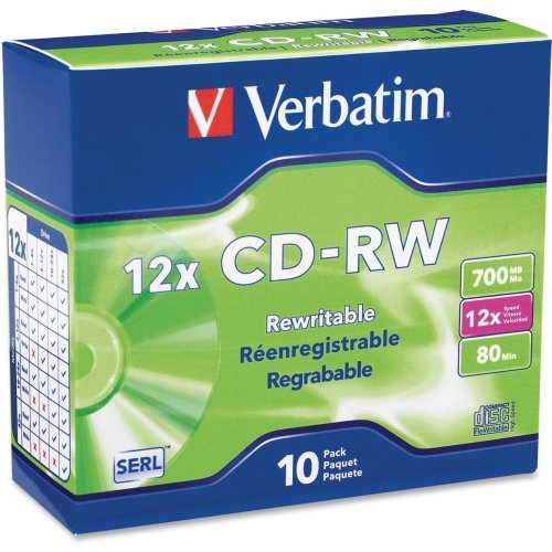 "Verbatim America, Llc - Verbatim 95156 Cd Rewritable Media - Cd-Rw - 12X - 700 Mb - 10 Pack Slim Case ""Product Category: Storage Media/Optical Media"" from Verbatim"