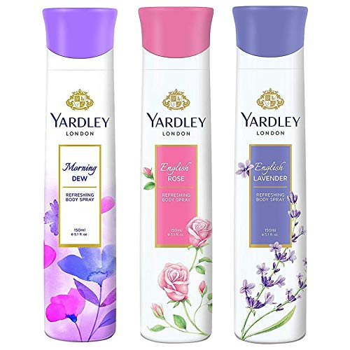 Yardley London Deo Tripack – English Lavender + English Rose + Morning Dew 150ml (Pack of 3)