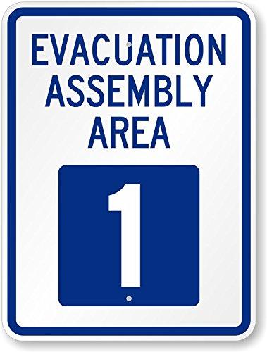 Evacuation Assembly - Evacuation Assembly Area 1, Heavy-Duty Aluminum Sign, 80 mil, 24