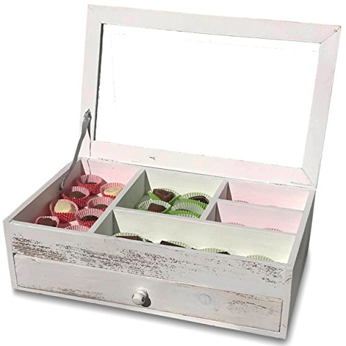 Treasures White Drawer Chest - The Stockbridge Wide Jewelry Box, Rustic White, Vintage Keepsake, Shabby Style, 1 Drawer, Compartments, Glass Top Hinged Lid, Approx. 1 Ft 4 In Long, Sustainable Wood, By Whole House Worlds