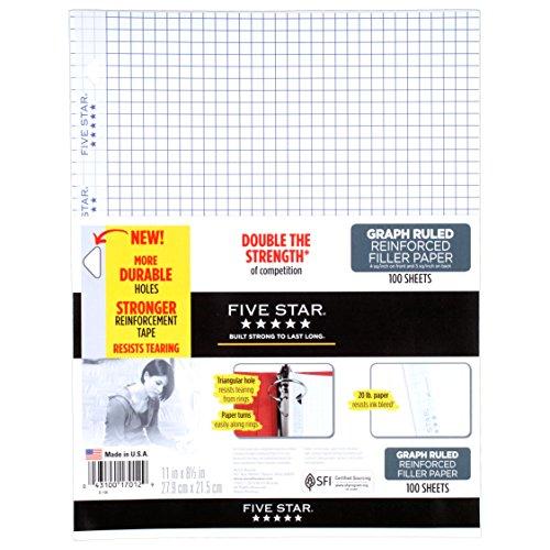 Five Star Filler Paper, Graph Ruled, Reinforced, Loose-Leaf, 11 x 8 1/2