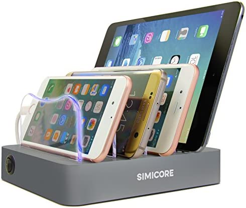 Simicore 4-Port USB Charging Station with 5 Short Charging Cables for Apple & Android Phones, Tablets & Other Devices - with Blue Charging Status Light (Space Gray)