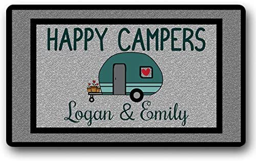 Personalized Name Text Custom Happy Campers Entry Sign Funny Floor Mat Door Mat Non-Slip Doormat 30 by 18 Inch Machine Washable Indoor Outdoor