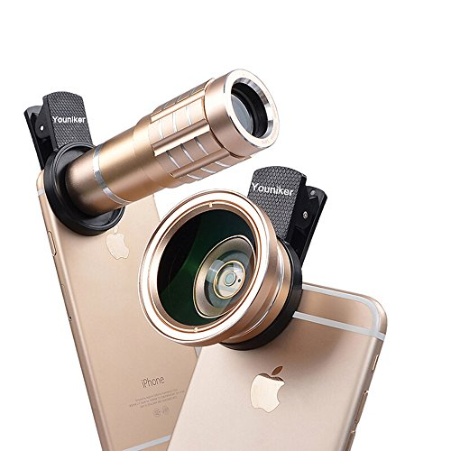 Youniker 3 in 1 Universal Camera Lens Kit for iPhone,12X Zoom Telephoto Lens+0.45X Wide Angle Lens+12.5X Macro Lens,Clip-on Cell Phone Camera Lens for iPhone 7/6 Plus,Samsung,Most Smart Phones (Gold)