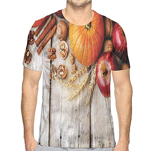 t Shirt for Men Fruits,Pumpkin Nuts Rural Farmhouse Custom t Shirt S]()