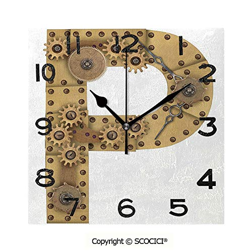 SCOCICI 8 inch Square Clock Industrialization and Language Theme Capital P in Aged Design Copper Device Print Decorative Unique Wall Clock-for Living Room, Bedroom or Kitchen Use ()