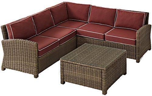 Crosley KO70019WB-SG Bradenton 4-Piece Wicker Seat Set