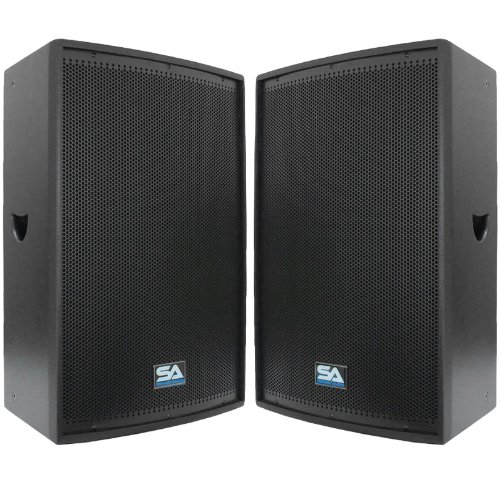 Seismic Audio - Pair of 15'' Pro Audio PA/DJ Speakers - Black Textured Painted - Flyware for hanging - Monitors - Pole Mountable by Seismic Audio