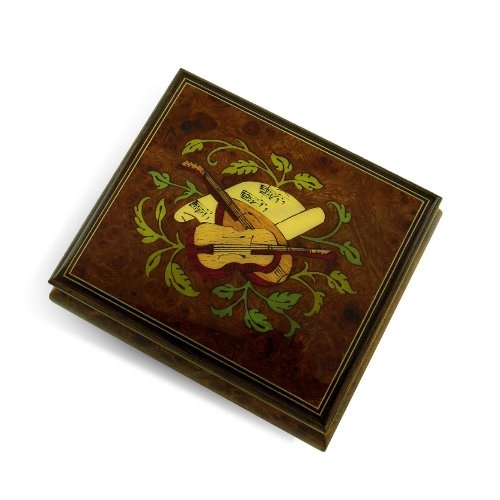 Exquisite Handcrafted Musical Instrument with Sheet Music Wood Inlay Music Box - Climb Every (Violin Inlay Music Box)
