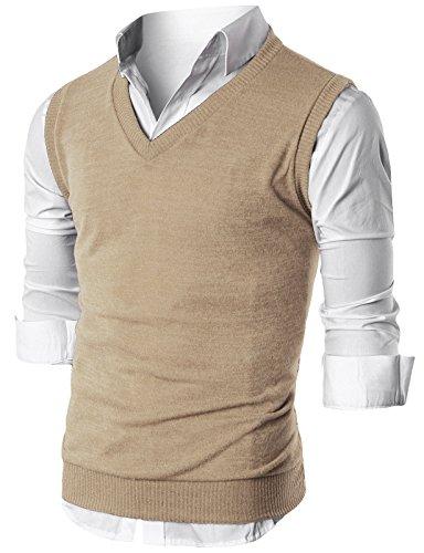 Ohoo Mens Slim Fit Casual V-Neck Knit Vest/DCV010-BEIGE-L