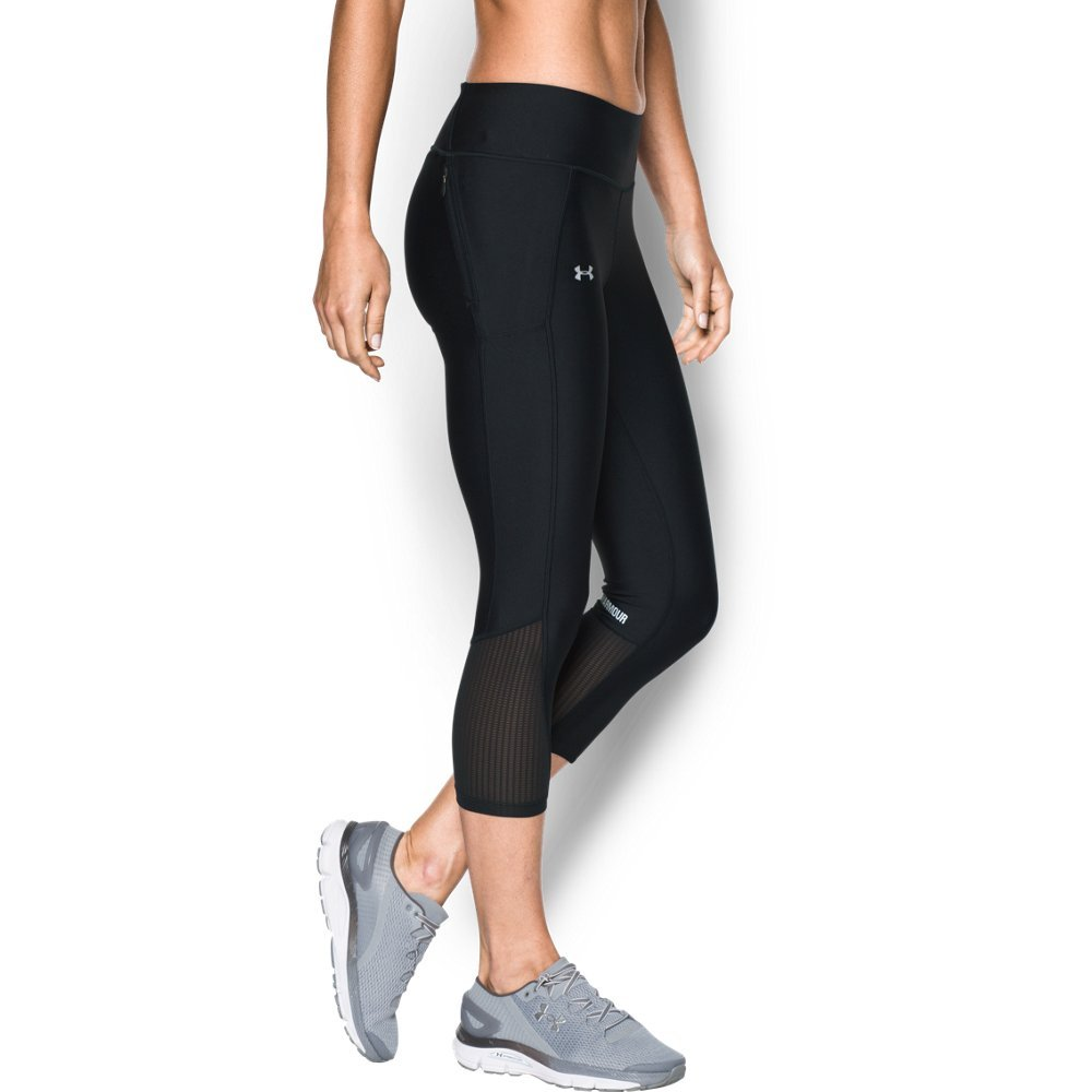 Under Armour Women's Fly-By Capri,Black (002)/Reflective, X-Small