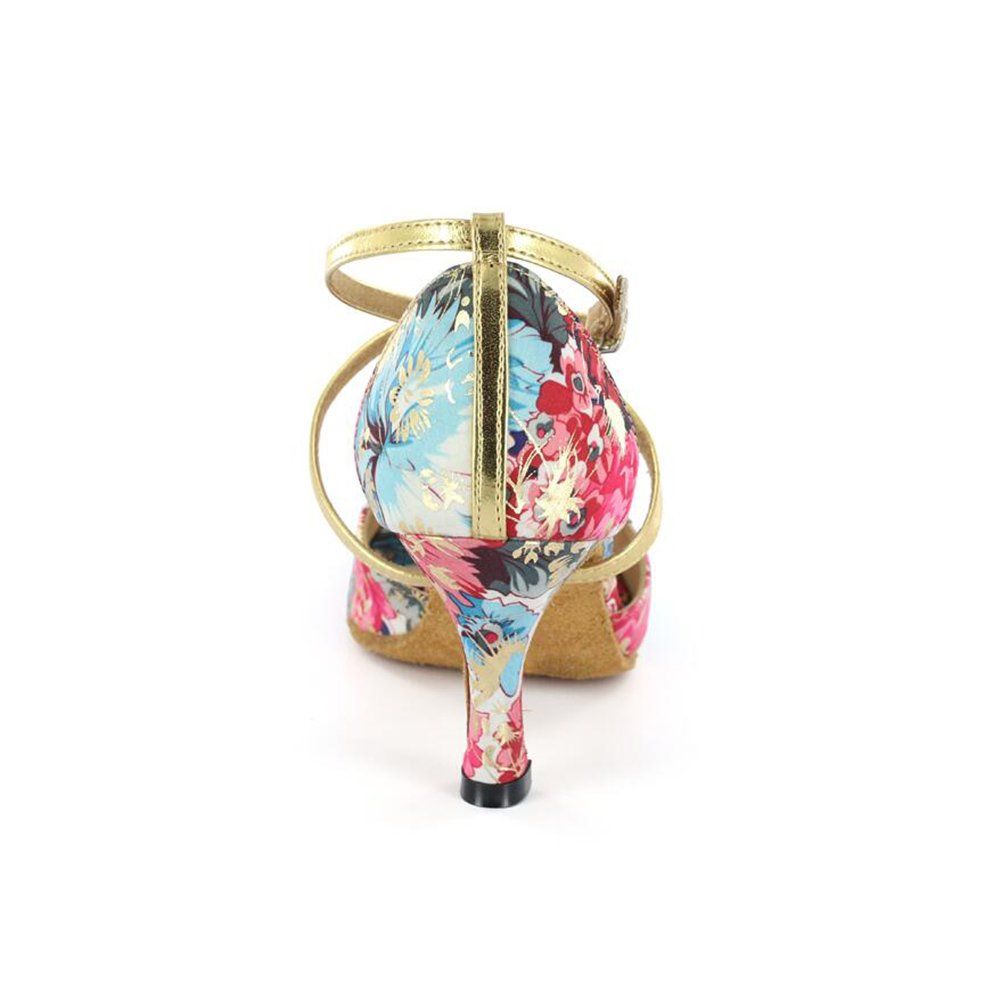 XUE Damen Latein Schuhe/Ballsaal Heel Schuhe Kunstleder Ferse Schnalle/Flower Heel Schuhe/Ballsaal Tanz Schuhe Fuchsia Party & Abend (Farbe : Ein, Größe : 35) c0185d