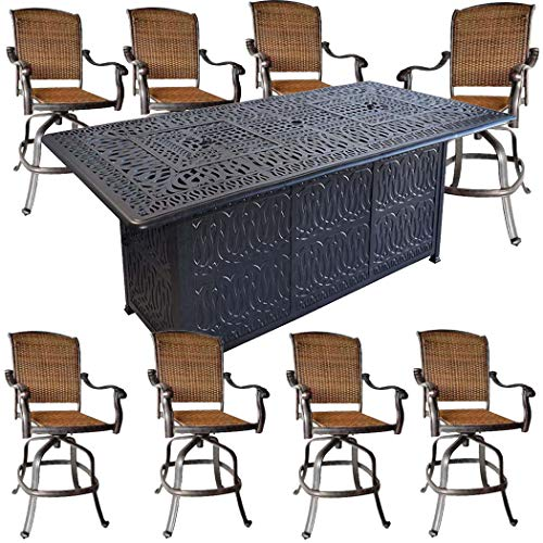 Sunvuepatio 9 Piece Fire Pit Patio Dining Outdoor Bar Set Santa Clara Swivels Barstools Table Ca ...