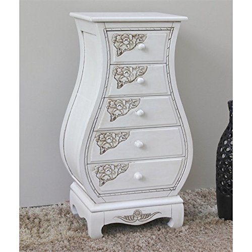 Hand Carved Bombe Chest (Hand Carved Wood Antique White 5-Drawer Bombay Chest)