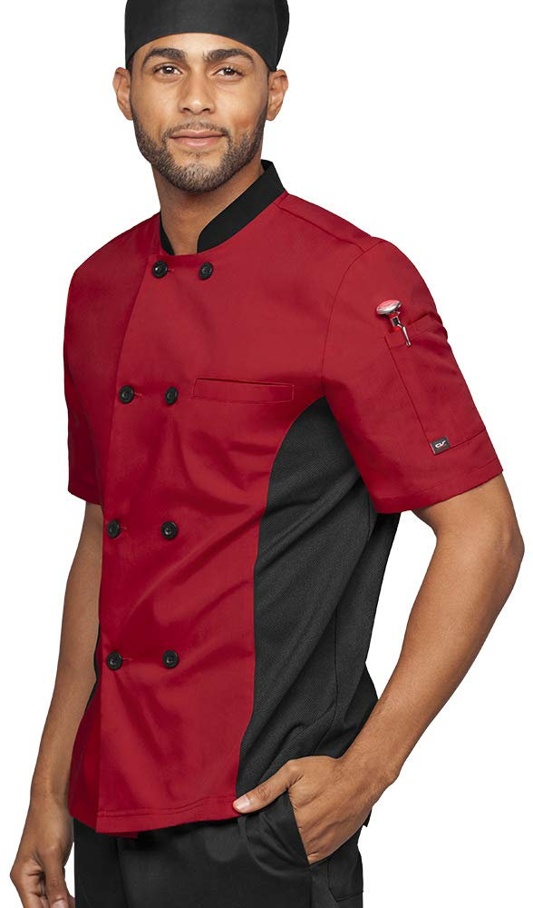 Mens Short Sleeve Chef Coat Mesh Side Panels (Medium, Red/Black) by UA CHEF