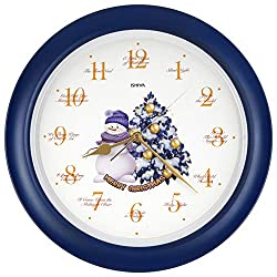JUSTIME Splendid Collection 14-inch 12 Song of Carols of Christmas Gorgeous Purple Snowman & X'Mas Tree Wall Clock Mantel Clock Home Deco, Gift Box (ST Blue)