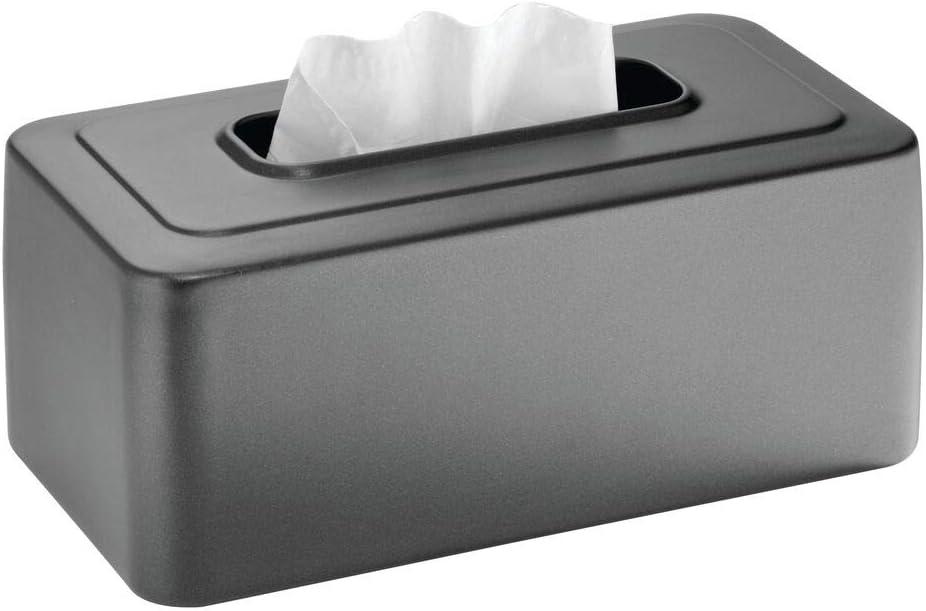 mDesign Caja para pañuelos de Papel Recargable – Práctica Funda para Caja de pañuelos de Papel – Elegantes dispensadores de pañuelos Desechables para Lavabo o Muebles del baño – Gris Pizarra
