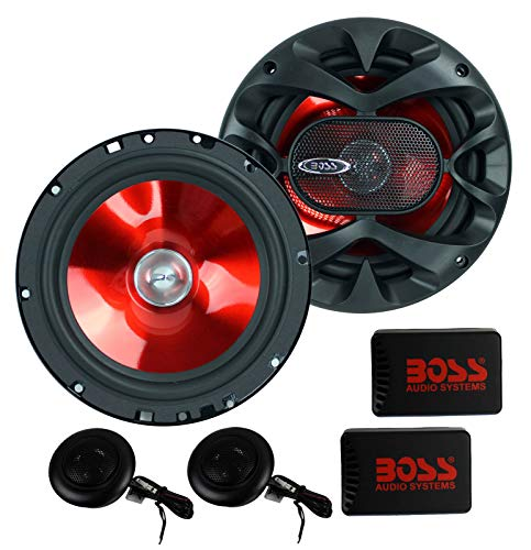 BOSS Audio Systems CH6CK Component Car Speakers - 350 Watts of Max Power and 175 Watts Per Set, 2 6.5 Inch Speakers Crossovers Tweeters, Full Range, 2 Way, Sold in Pairs, Easy Mounting