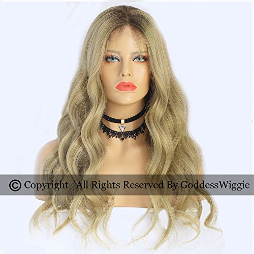 Ash Ombre Lace Front Wavy Wigs Two Tone Ombre Human Hair Lace Wigs With Baby Hair (22inch 150%) by Goddess
