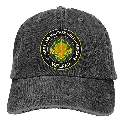 U.S. Army 15th Military Police Brigade Unit Crest Veteran Adjustable Sport Jeans Baseball Golf Cap Hat Unisex Style Black