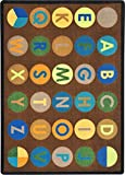 Joy Carpets Kid Essentials Early Childhood Alpha-Dots Rug, Earthtone, 5'4'' x 7'8''