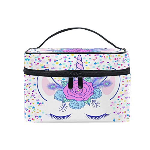ZOEO Makeup Train Case Cream Unicorn Head Cute Cat Eye Star Korean Carrying Portable Zip Travel Cosmetic Brush Bag Organizer Large for Girls Women -