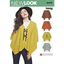 NEW LOOK UN6475A 6475 Pattern 6475 Misses' Easy Poncho & Cape