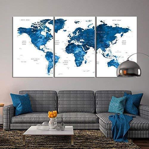 Amazon.com: Large Wall Art Push Pin World Map Canvas Print - Extra ...