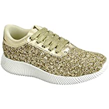 Kid's Lace Up Rock Fashion Glitter Sneakers For children & Girl & Kid