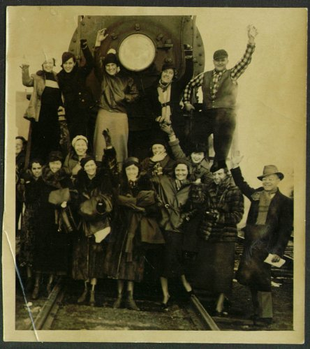 (Bean Party on locomotive N Station Boston snapshot 1935)