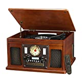 Innovative Technology Nostalgic Aviator Wood 8-in-1 Bluetooth Turntable Entertainment Center, Mahogany (Certified Refurbished)