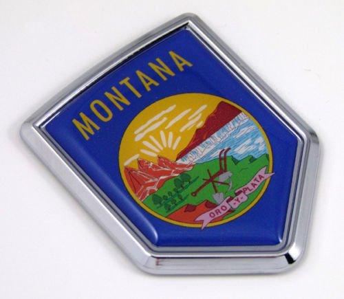 Montana MT USA State Flag Car Chrome Emblem Decal Sticker bike laptop boat 3dd Sticker ()