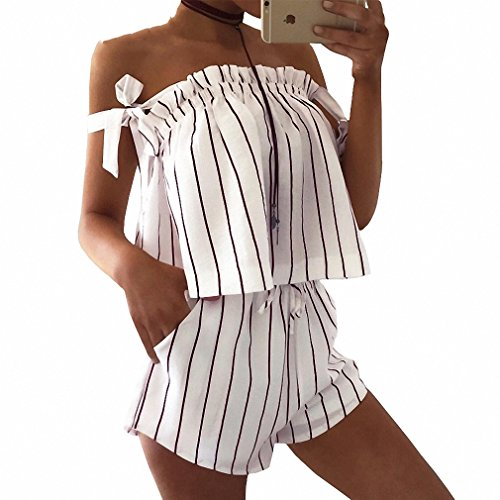 Prison Overalls Costume (Off Shoulder Stripe Elegant Jumpsuit Romper White Strap Backless Bow Overalls Sexy Summer Beach Playsuit Women Outfit)
