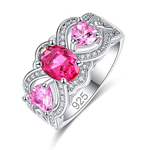 Humasol 925 Sterling Silver Filled Cubic Zirconia Ruby Spinel Promise Proposal Engagement Wedding Rings for Women Girl Size 8