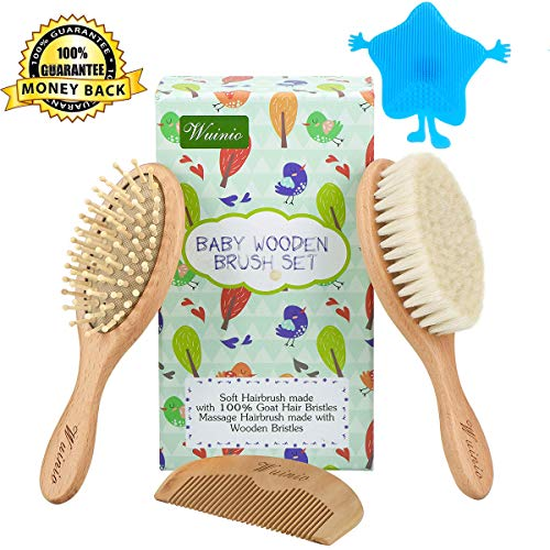 4Pcs Wooden Baby Goat Hair Brush and Comb Set Grooming kit for Newborns Toddlers/Soft Goat Hair Bristles for Cradle Cap/Wood Bristles Brush for Massage/Silicone Bath Brush/Baby Shower Registry Gift