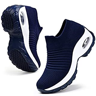 HKR Womens Platform Walking Shoes Comfortable Slip Resistant Lightweight Sneakers Shoes Navy Blue 8.5(ZJW1839shenlan40.5)
