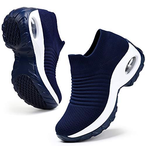 HKR Womens Platform Walking Shoes Comfortable Non Slip Lightweight Sneakers Shoes Navy Blue US 8.5(ZJW1839shenlan40.5)