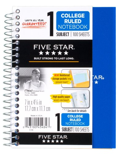 "043100454847 - Five Star Personal Spiral Notebook, 7"" x 4 3/8"", 100 Sheets, College Rule, Assorted colors (45484) carousel main 0"