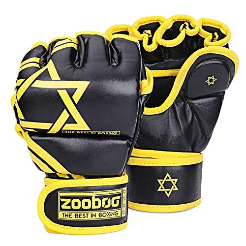 Flexzion Half Finger Boxing Gloves - Grappling MMA Muay Thai UFC Sparring Punch Ultimate Mitts Sanda Fighting Training Sandbag Equipment Pair for Adult Men (Hexagram, Yellow)