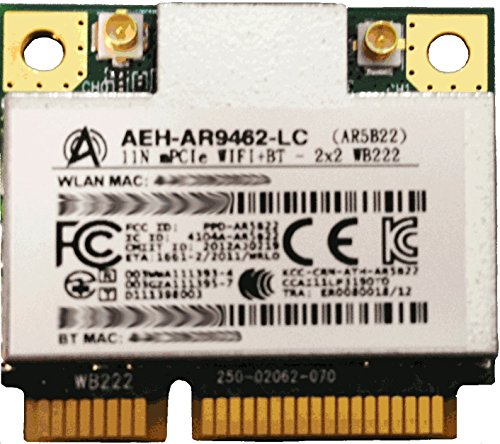 AIRETOS AEH-AR9462-LC Combo WiFi & Bluetooth 4.0 module, 802.11abgN Dual Band, 2T/2R Mini PCI-Express Half-Size Module, Atheros AR9462 chipset - Reference Design WB222 (AR5B22) by AIRETOS (Image #1)