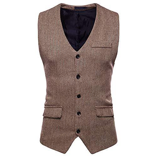 (TANGSen Men's Autumn Winter Formal Bussiness Plus Size Tuxedo Suit Waistcoat Stylish Vest Jacket Top Coat Khaki)