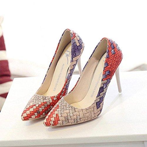 Esailq Aiguille Fermées Haut Femme Chaussures Femme talon Sexy Escarpins Rouge coupe Hxpr8Hw