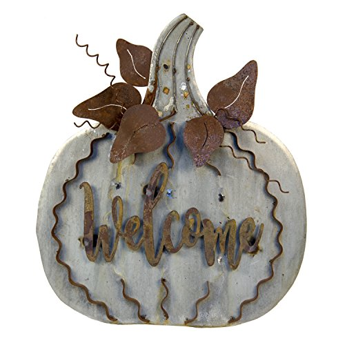 (The Round Top Collection Galvanized/Rust Welcome Pumpkin, Lg -)