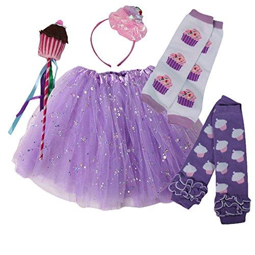 Girls Cupcake Fairy Princess Tutu, Leg Warmers & Wand Dress Up Set (Lavender) 2018
