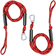 Selftek 2Pack Bungee Dock Line 4ft Boat Tow Rope Stretchable 4-5.5ft Absorbs Shock to Cleats Docks Pylons Anch