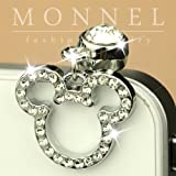 Ip259 Cute Crystal Mic Mouse Anti Dust Plug Cover Charm For Android Smart Phone iPhone
