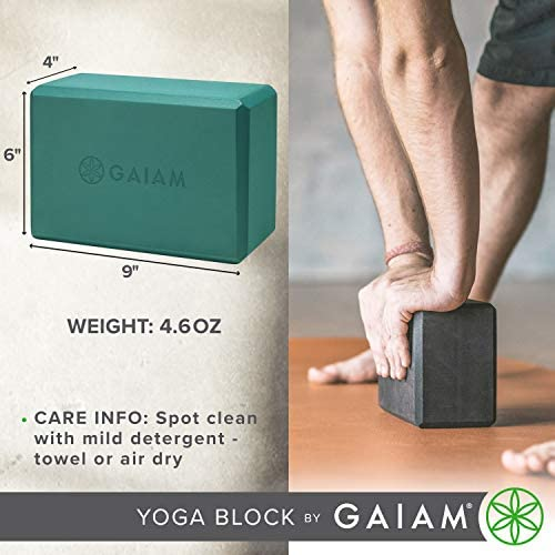 Gaiam Yoga Block - Supportive Latex-Free EVA Foam Soft Non-Slip Surface for Yoga, Pilates, Meditation
