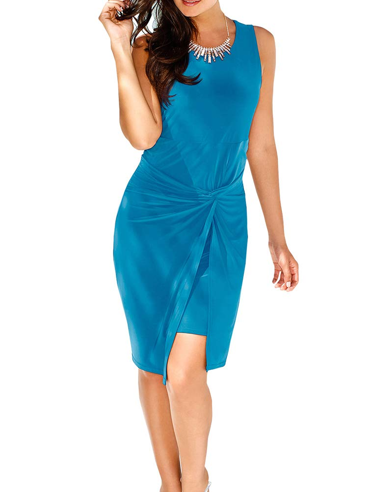 Women's Sleeveless Bodycon Dresses - Unique Ruched Knot Knee-Length Sheath Sundress Large Acid Blue